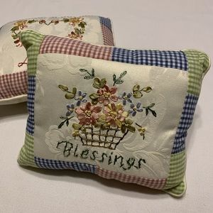 Two Embroidered Plaid Pillows